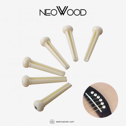 NEOWOOD GXZ01 PLASTIC BRIDGEPIN/ENDPIN IVORY 6 PIECES- 1 PACK