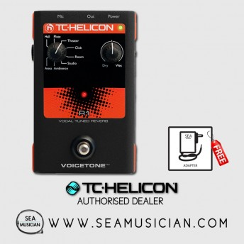 TC HELICON VOICETONE R1 VOCAL TUBED REVERB - WITH ADAPTER (OPEN BOX SALE) TCHELICON-VOICETONER1