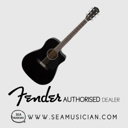 FENDER CD60SCE ACOUSTIC GUITAR WITH EQ/PICKUP BLACK FREE INSTRUMENT CABLE (FEN-F03-0961704006)