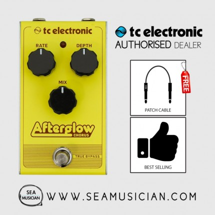 TC ELECTRONIC AFTERGLOW CHORUS EFFECT PEDAL FREE 2 PATCH CABLE (TC-CAQ00)
