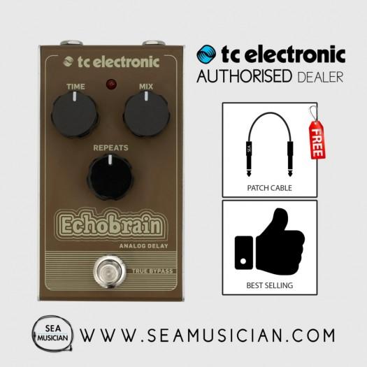 TC ELECTRONIC ECHOBRAIN ANALOG DELAY EFFECT PEDAL FREE 2 PATCH CABLE (TC-CBE00)