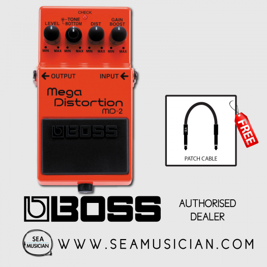 BOSS MD-2 MEGA DISTORTION EFFECT GUITAR PEDAL WITH FREE PATCH CABLE