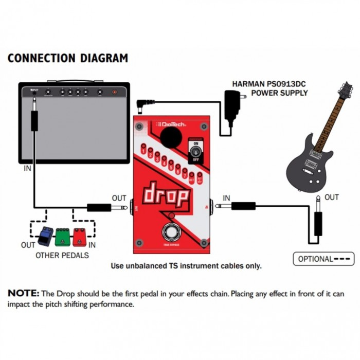 Digitech Drop Polyphonic Drop Tune Effect Pedal For Guitar And Bass