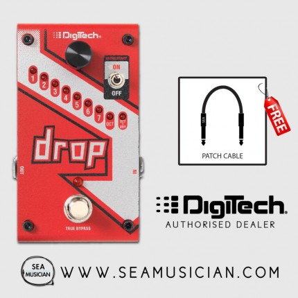 DIGITECH DROP POLYPHONIC DROP TUNE EFFECT PEDAL FOR GUITAR AND BASS FREE POWER ADAPTOR FREE PATCH CABLE (DIGDROP)