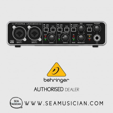 BEHRINGER UMC-204HD U-PHORIA 2IN 4OUT USB AUDIO INTERFACE WITH MIDAS MIC PREAMP (BEH-UMC-204HD)