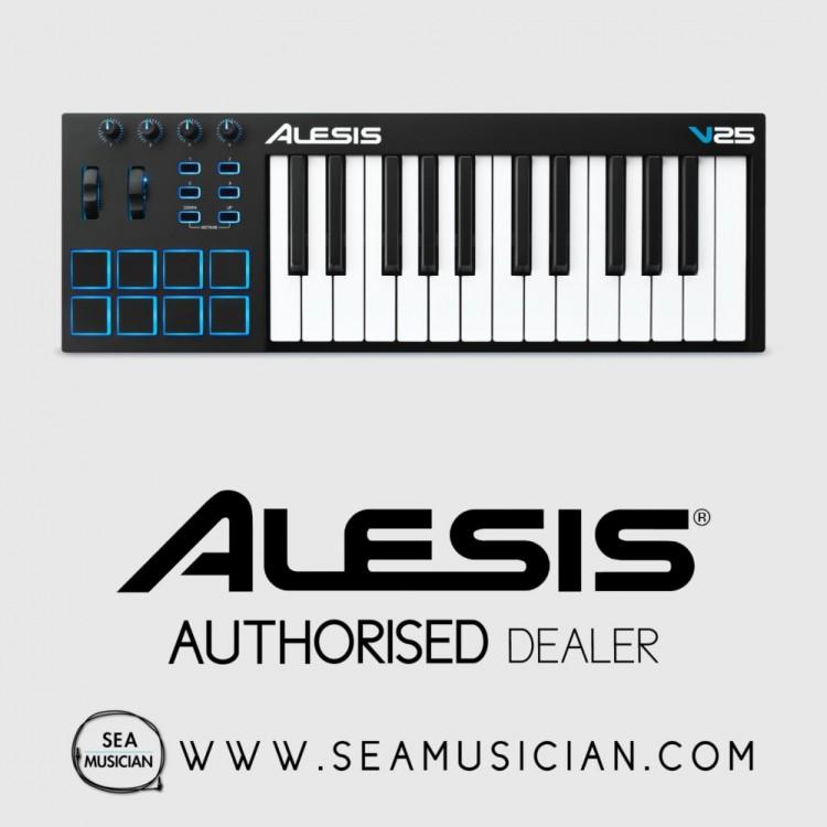 ALESIS V25 25-KEY USB-MIDI CONTROLLER WITH 8 VELOCITY-SENSITIVE PAD (ALE-V25)