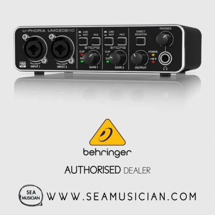 BEHRINGER UMC202HD 2-CHANNEL AUDIO INTERFACE WITH MIDAS MIC-PREAMP (BEH-UMC202HD)
