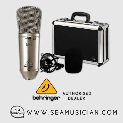 BEHRINGER B-1 SINGLE DIAPHRAGM CONDENSER MICROPHONE WITH SHOCK MOUNT, WINDSCREEN AND CASING (BEH-B1)