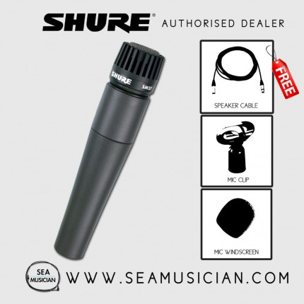 SHURE SM57-LC CARDIOID DYNAMIC / INSTRUMENT MICROPHONE FREE MIC CABLE & WINDSCREEN (SHU-SM57)