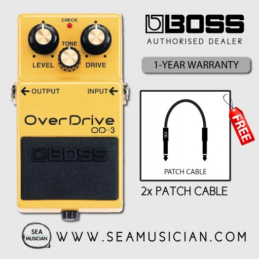 BOSS OD 3 OVERDRIVE EFFECT GUITAR PEDAL WITH FREE PATCH CABLE