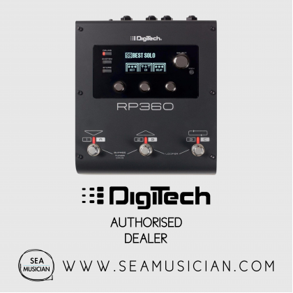 DIGITECH RP360 GUITAR MULTI-EFFECT FLOOR PROCESSOR 55 AMPS, 27 CABINETS, 85 EFFECTS LEXICON REVERBS 40-SECOND LOOPER, RECORD YOUR GUITAR TRACKS DIRECTLY TO YOUR COMPUTER NEXUS EDITOR LIBRARIAN FOR PC AND MA 24-BIT 44.1KHZ POWER SUPPLY INCLUDED (DIGRP360V)