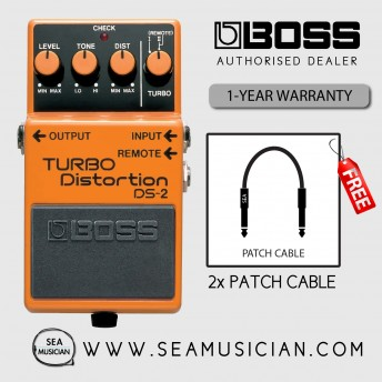 BOSS DS 2 TURBO DISTORTION EFFECT GUITAR PEDAL WITH FREE PATCH CABLE