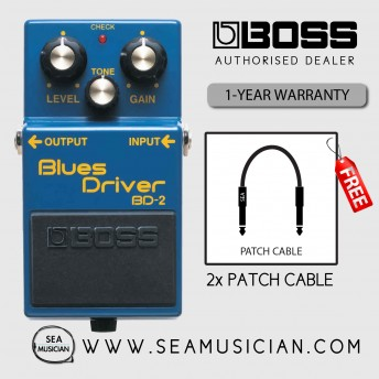 BOSS BD 2 BLUES DRIVER EFFECT GUITAR PEDAL WITH FREE PATCH CABLE