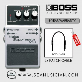 BOSS NS 2 NOISE SUPPRESSOR EFFECT GUITAR PEDAL WITH FREE PATCH CABLE