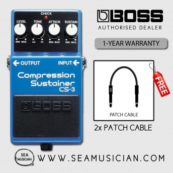 BOSS CS3 COMPRESSOR/SUSTAINER EFFECT GUITAR PEDAL WITH FREE PATCH CABLE